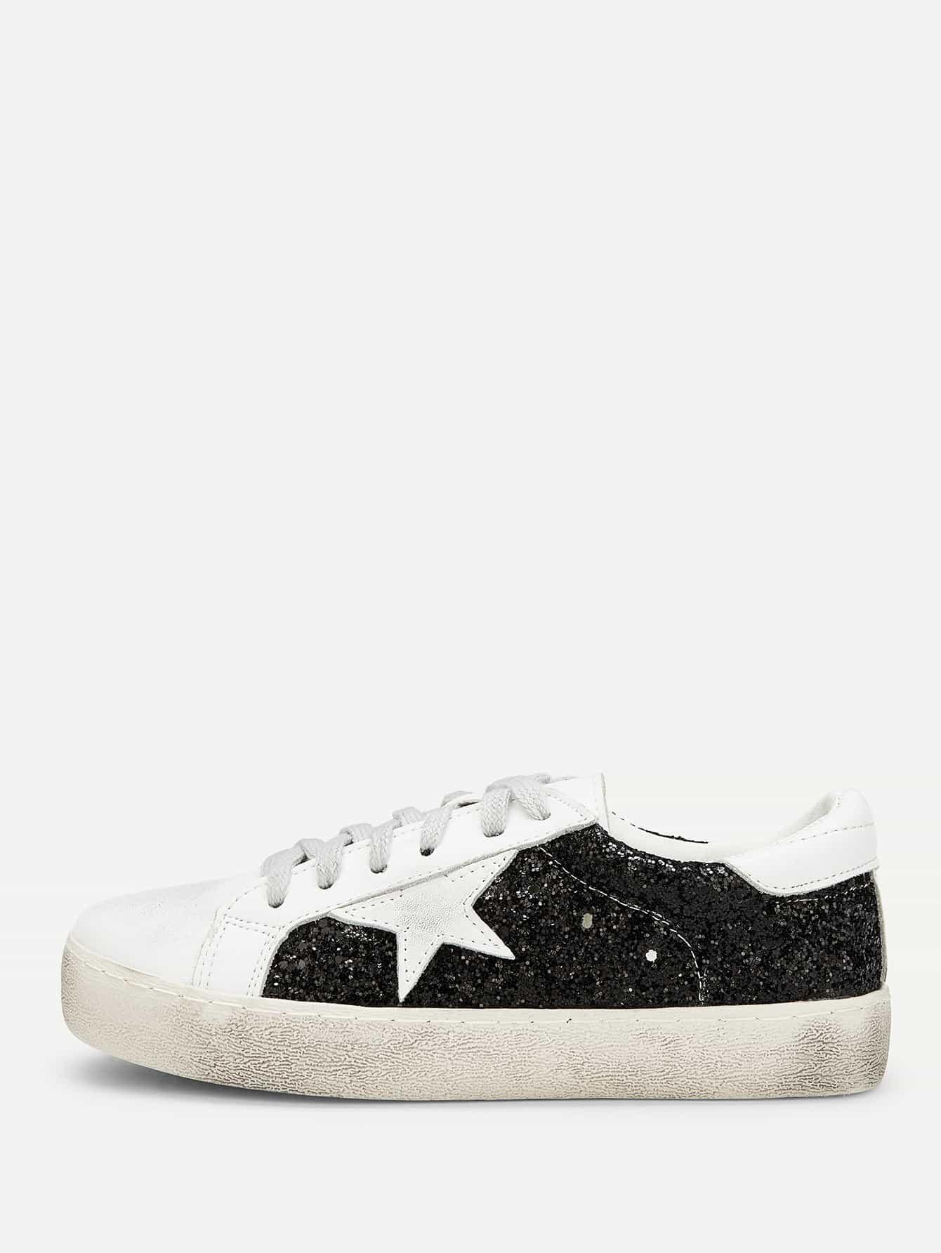 Фото - Блестящие кроссовки с шнурками и принтом звёзд от SheIn цвет красочный