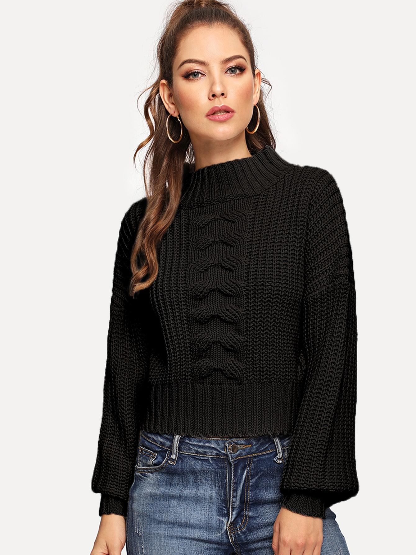 Купить Короткий свитер с заниженной линией плеч и смешанной вязкой, Debi Cruz, SheIn