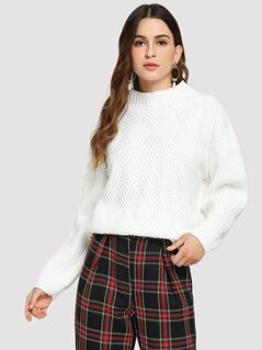 Geo Front Rib -knit Sweater