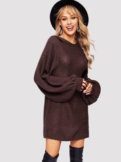 Exaggerated Bishop Sleeve Hoodie Sweater Dress