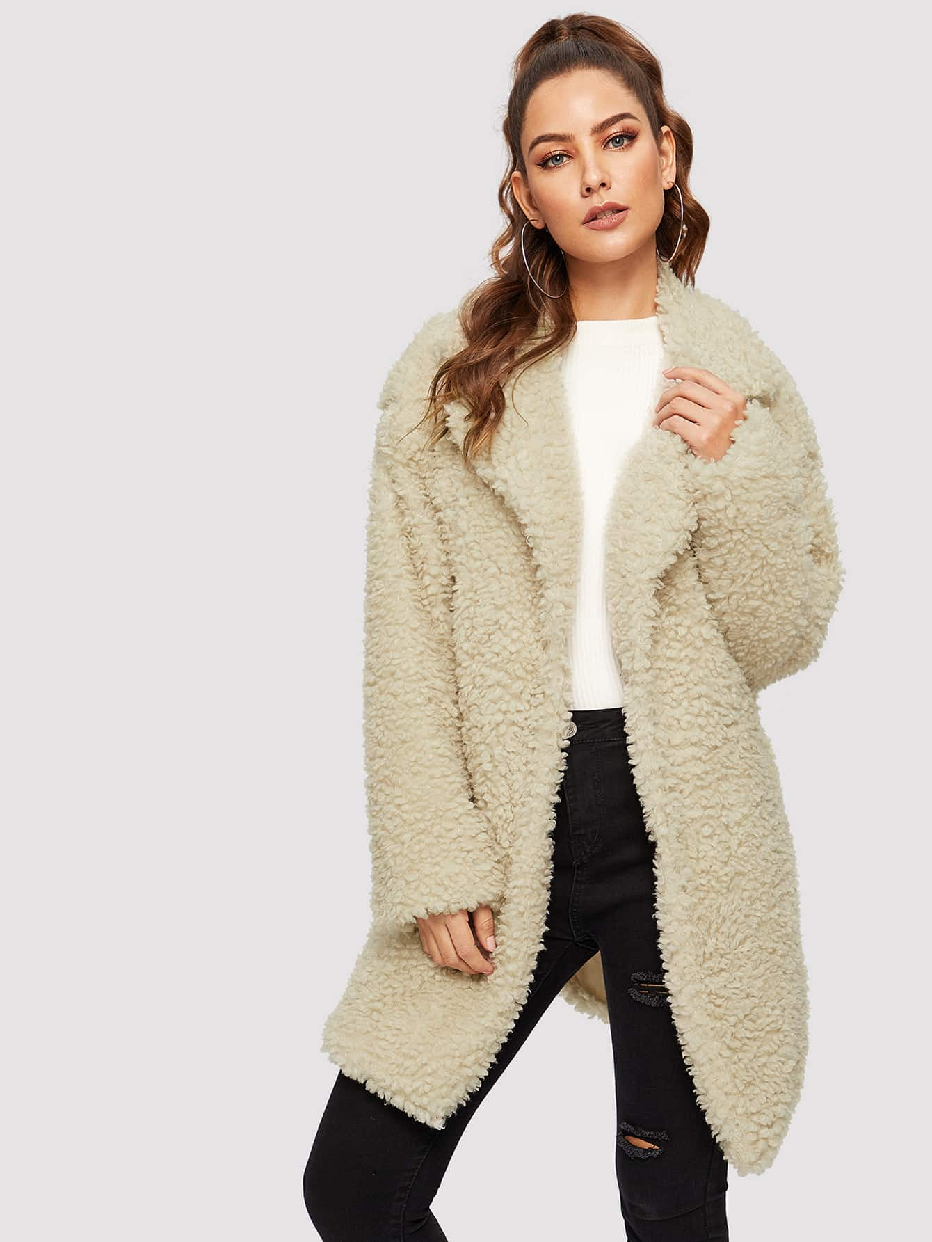 Купить Однотонное пальто тедди с зубчатым воротником, Debi Cruz, SheIn