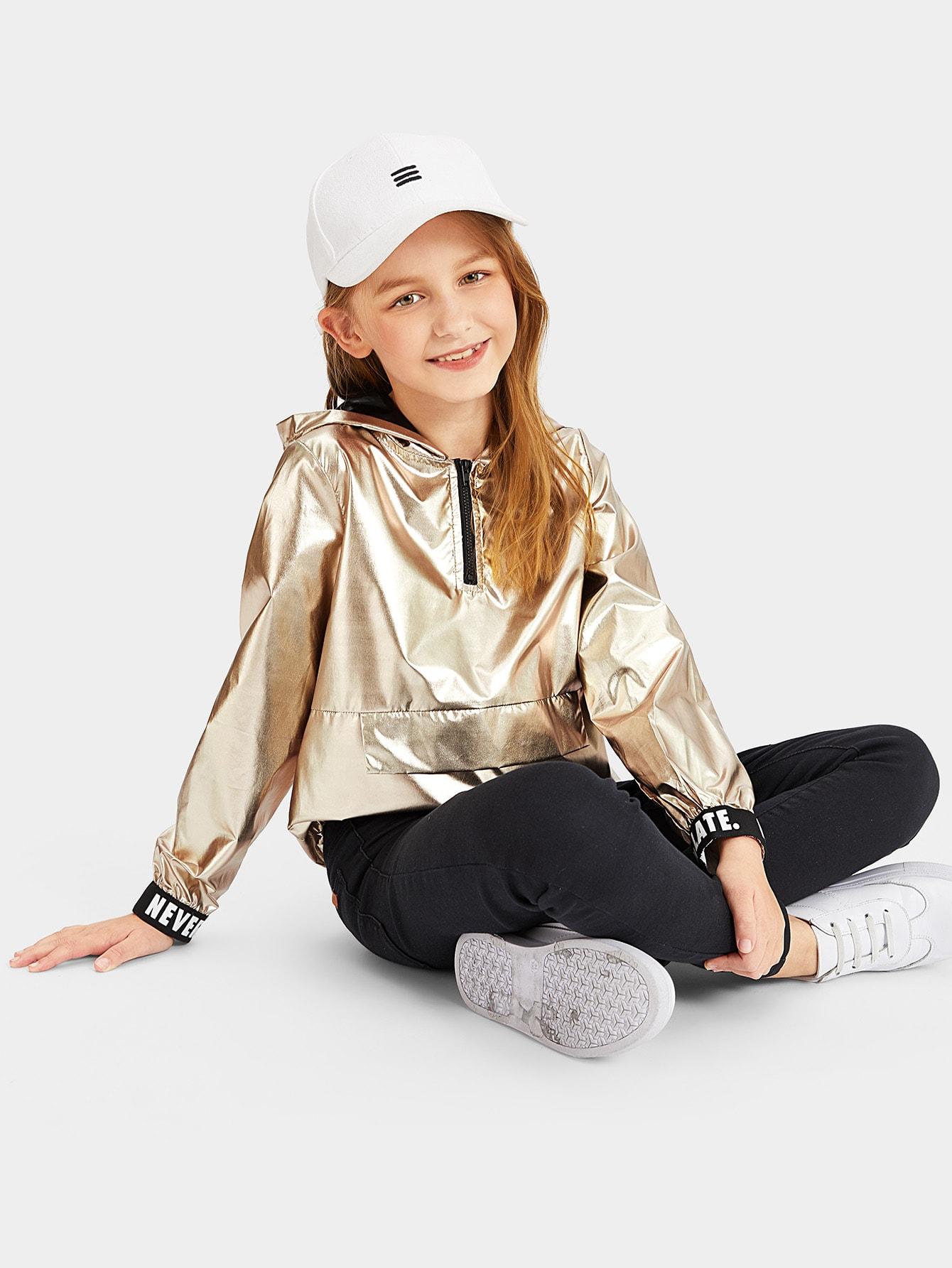 Купить Женская металлическая куртка с капюшоном и молнией текстовым принтом, Sashab, SheIn