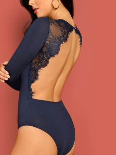 Eyelash Lace Trim Open Back Fitted Bodysuit