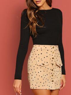 Button Front Heart Print Corduroy Mini Skirt