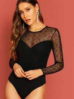 Open Back Sheer Lace Detail Jersey Knit Bodysuit