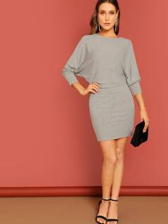 Heathered Knit Dolman Sleeve Mini Dress