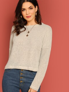 Drop Shoulder Boat Neck Pullover Knit Sweater