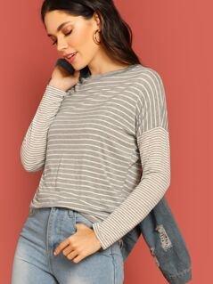 Crew Neck Drop Shoulder Stripe Long Sleeve T-Shirt