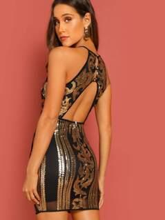 Halter Neck Open Back Baroque Sequin Design Dress
