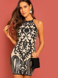 Halter Neck Open Back Sequin Design Mini Dress