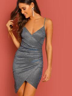 Glitter Wrap Detail Asymmetric Hem Mini Dress