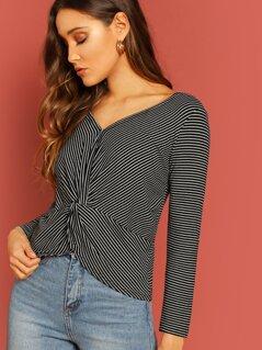 Twist Front Stripe Jersey Knit Long Sleeve T-Shirt