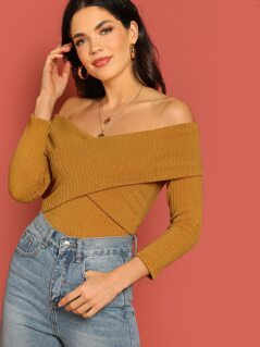 Criss Cross Bardot Style Rib Knit Long Sleeve Top