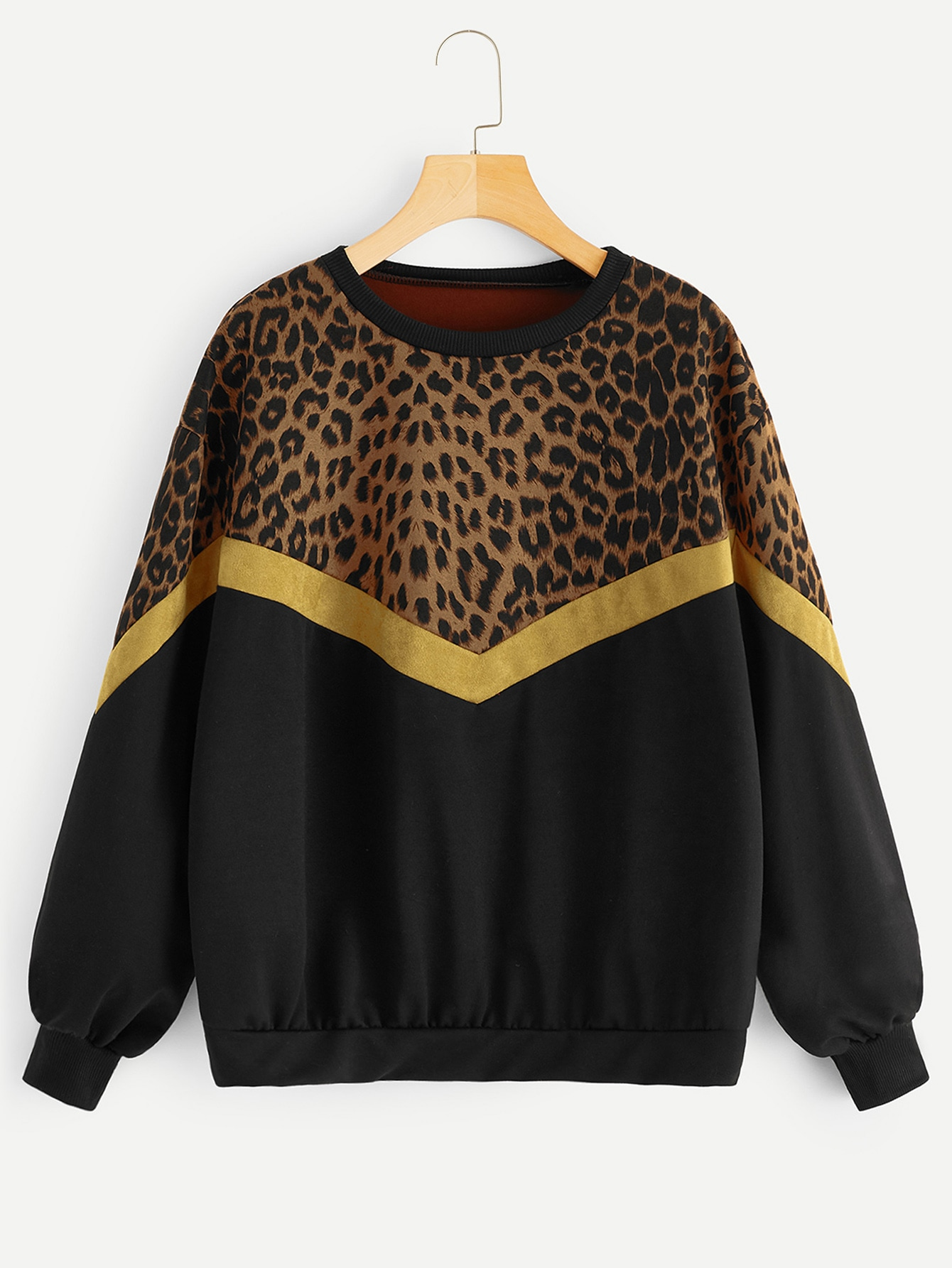 Купить Свитшот с заниженной линией плеч и контрастным леопардовым принтом, null, SheIn