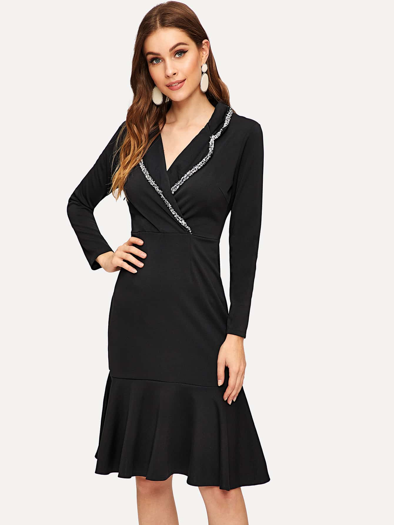Купить Платье с оборками с v-образным вырезом, Gabi D, SheIn