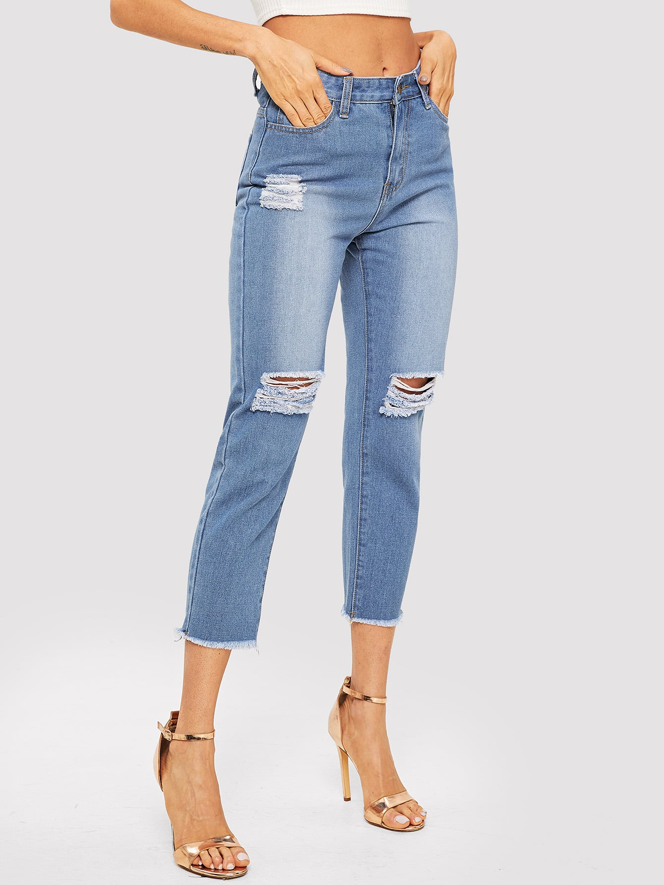 Купить Рваные джинсы с необработанным краем, Andy, SheIn