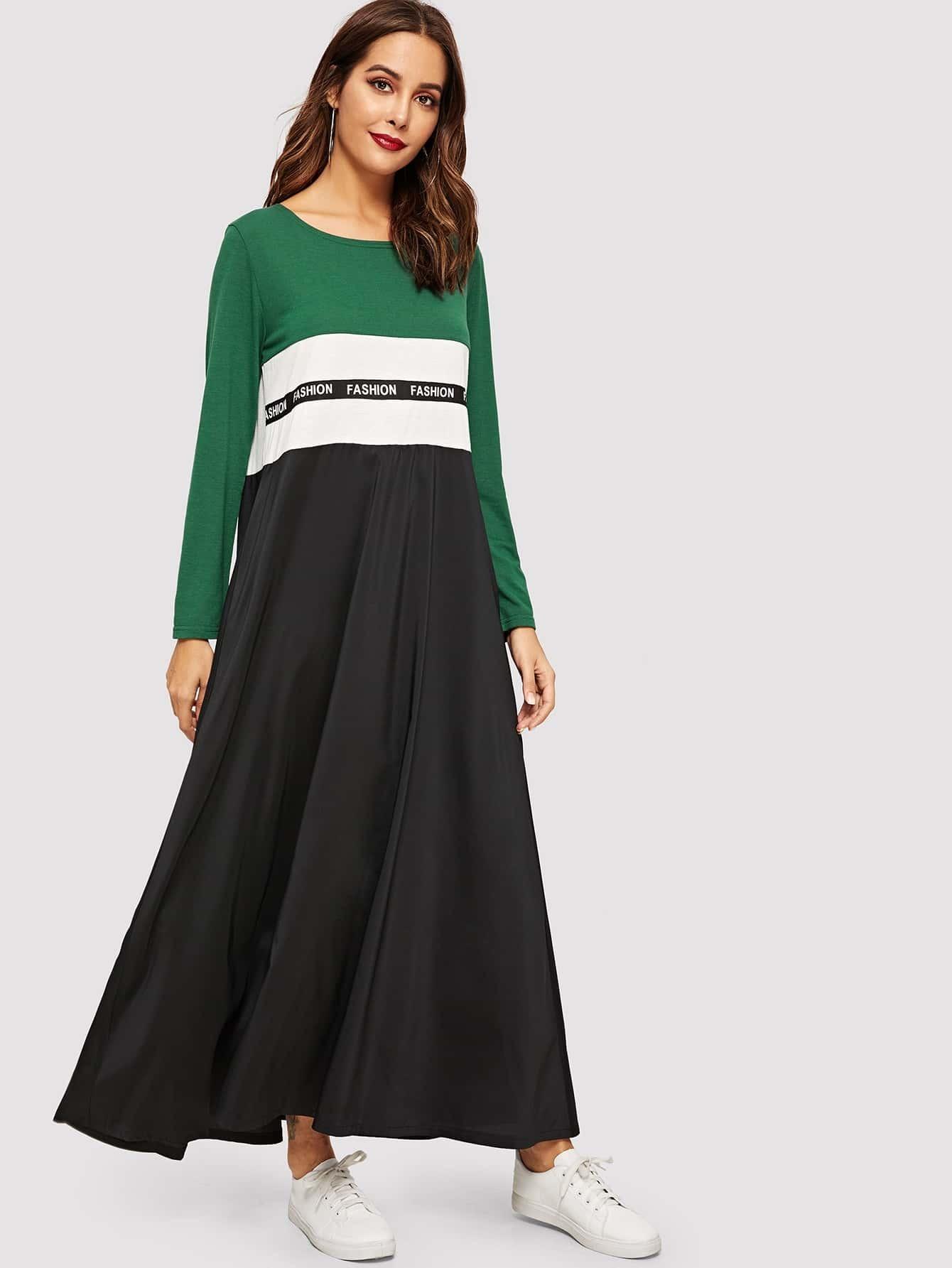 Купить Контрастное длинное платье с текстовым принтом в полоску, Giulia, SheIn