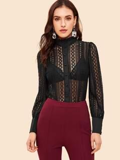 Frilled Neckline Mesh Lace Sheer Shirt