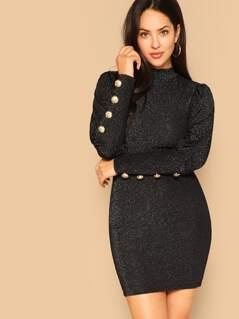 Leg-of-mutton Sleeve Mock-neck Glitter Dress
