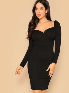 Sweetheart Neck Solid Pencil Dress