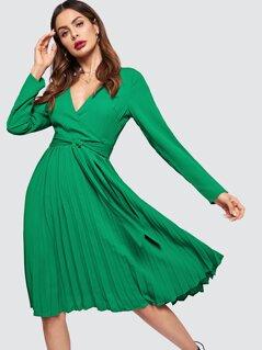 Surplice Neck Pleated Dress