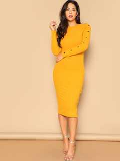 Snap-button Rib-knit Midi Dress