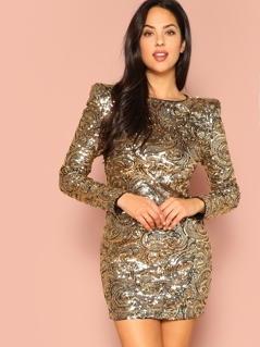 Shoulder Padded Swirl Sequin Bodycon Dress