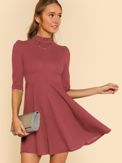 Mock Neck Fit & Flare Dress