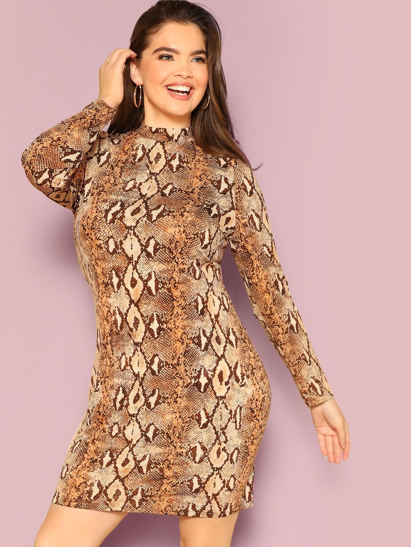 Размер плюс платье-карандаш с змеиным принтом