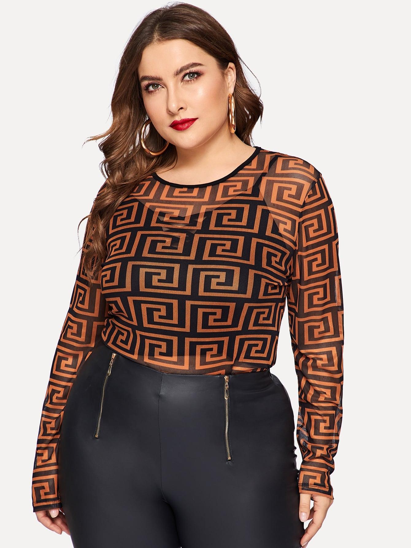 Купить Размер плюс сетчаткая блуза без майки, Franziska, SheIn