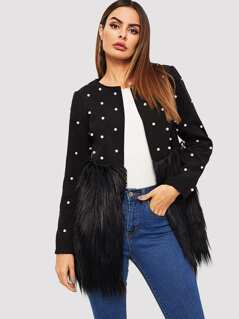Pearl Beaded Open Front Faux Fur Panel Coat