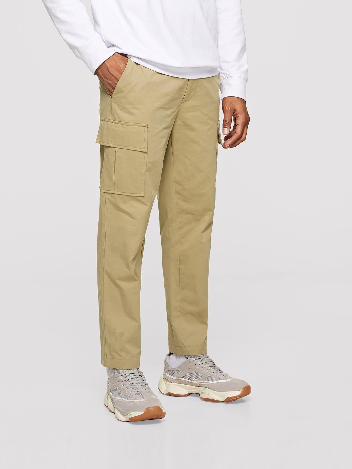 Купить Мужские брюки с карманом и пуговицами, Johnn Silva, SheIn