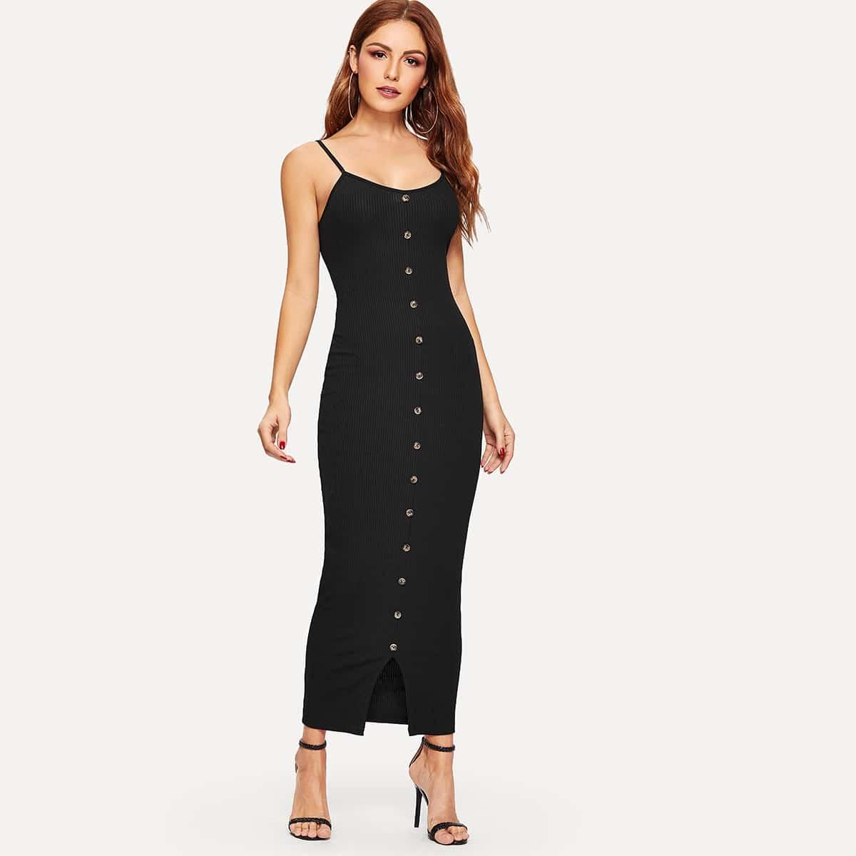 Вязаное облегающее платье с разрезом и пуговицами Image
