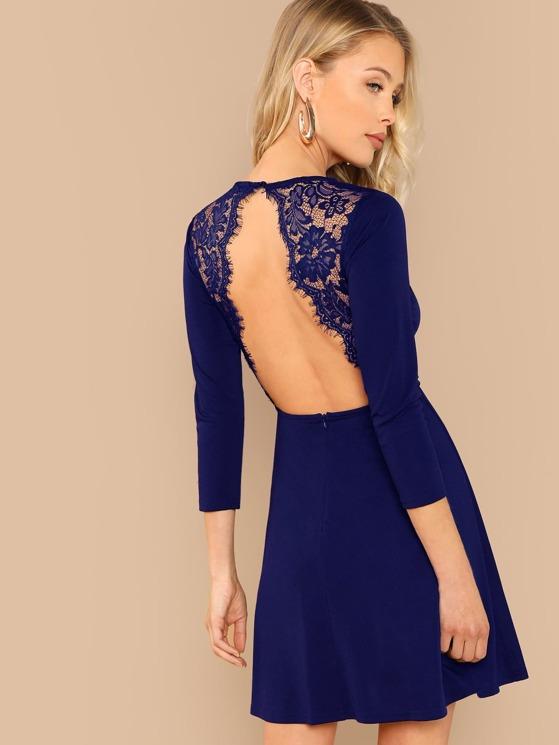 eed9456943ca Eyelash Lace Trim Open Back Skater Dress | MakeMeChic.COM