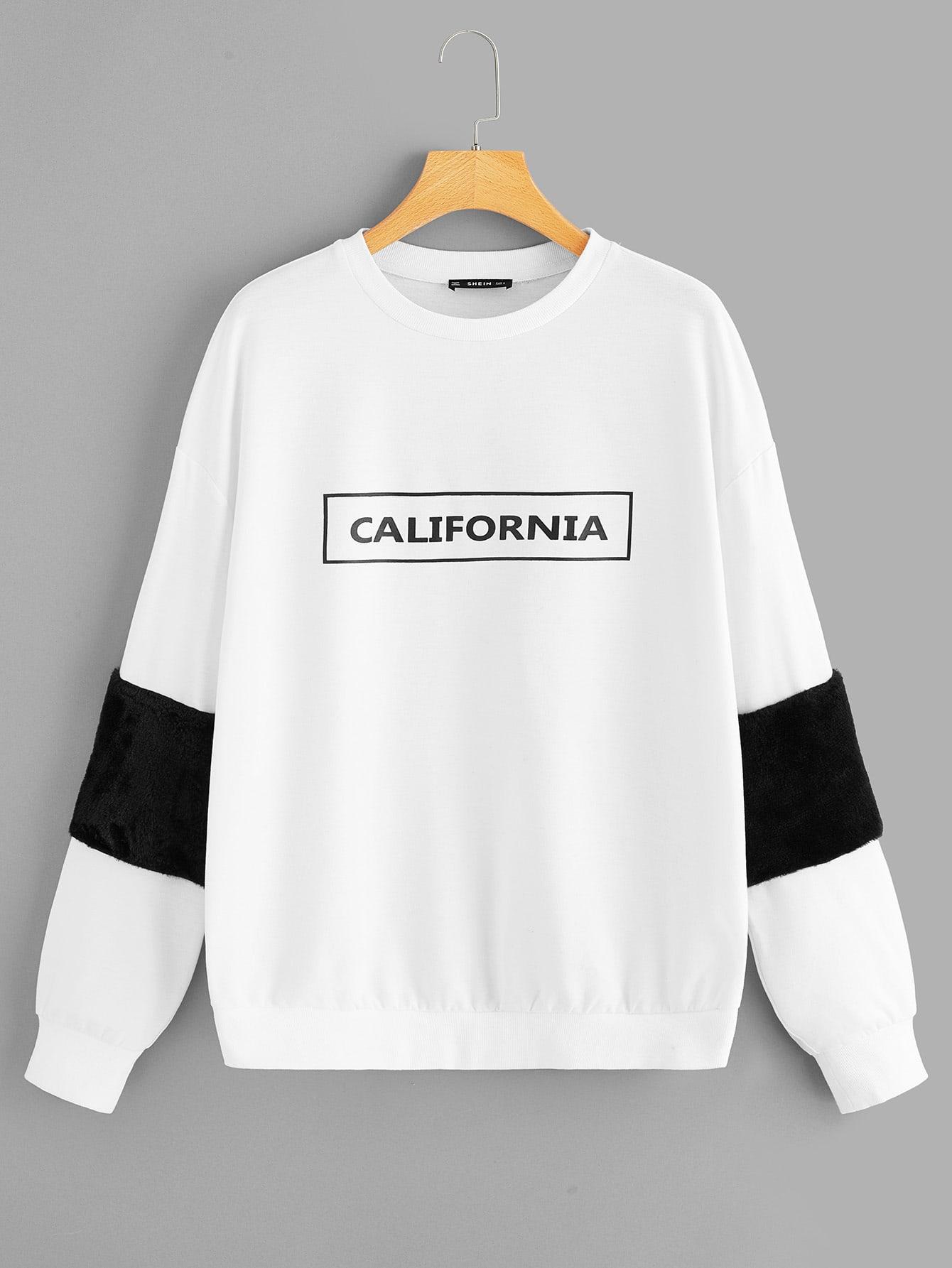 Купить Пуловер с текстовым принтом и искусственным мехом, null, SheIn