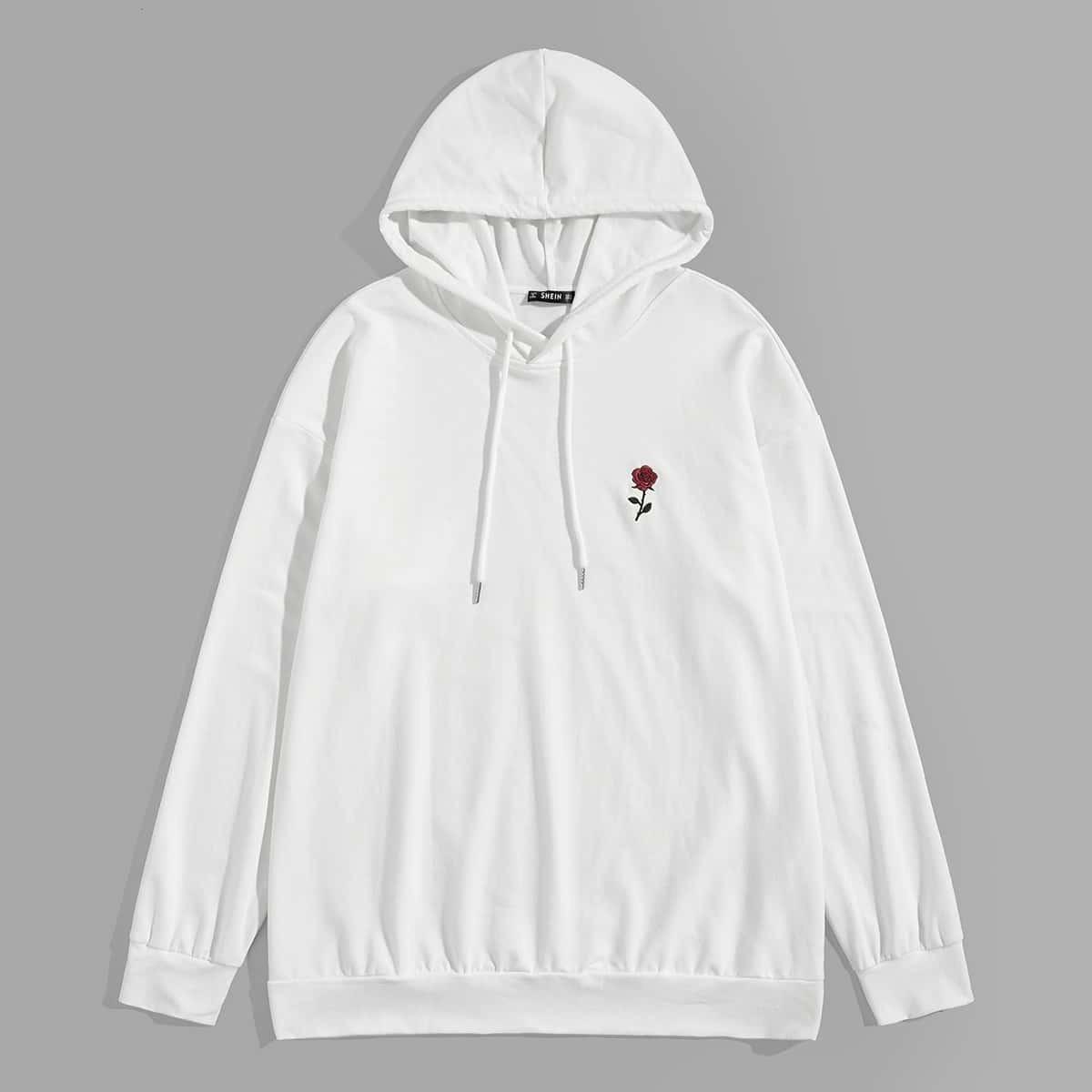 Wit Casual Borduurwerk Bloemen Sweatshirts voor heren