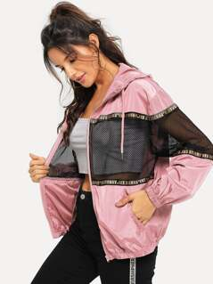 Zip Up Drawstring Hooded Mesh Insert Jacket