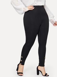 Plus Buttoned Detail Leggings