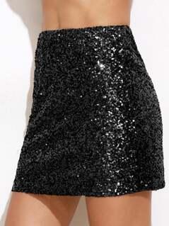 Metallic Sequin Skirt