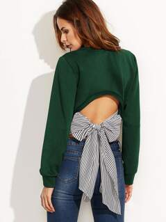 Striped Tie Back Sweatshirt