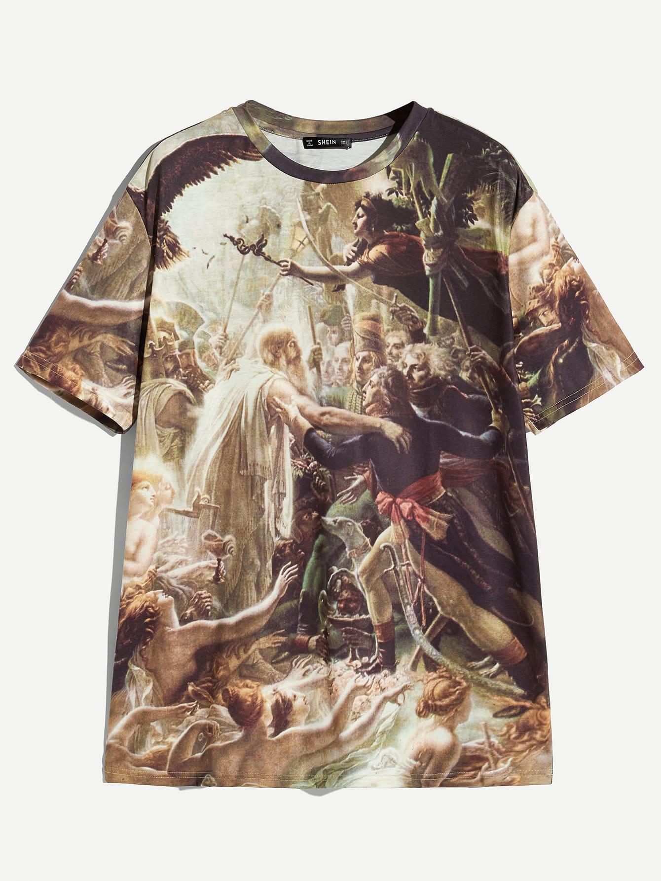 Купить Мужская футболка с графическим принтом и коротким рукавом, null, SheIn