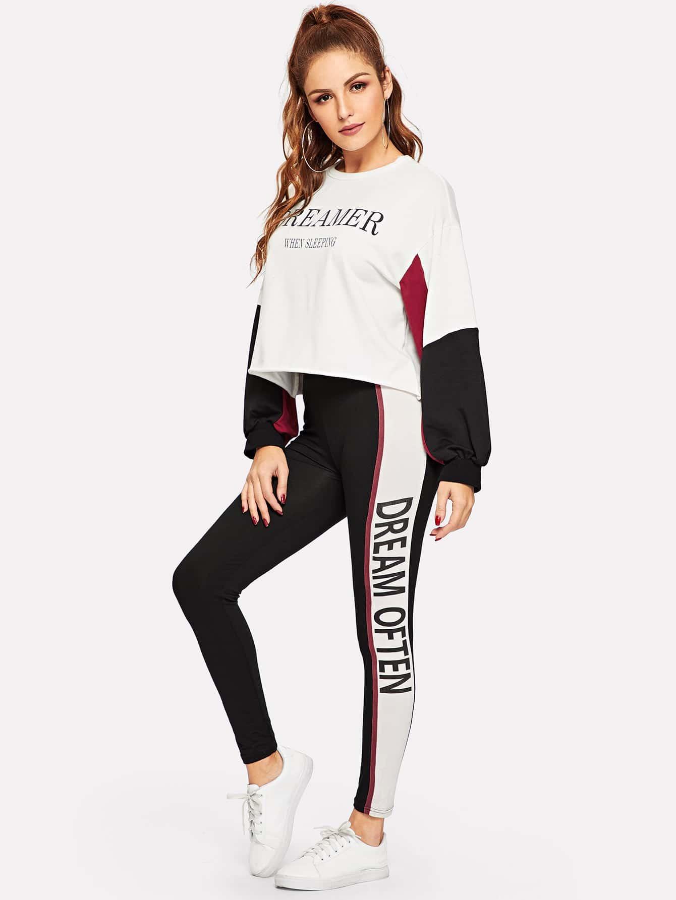 Купить Контрастный пуловер с текстовым принтом и леггинсы с текстовым принтом, Lisa A, SheIn