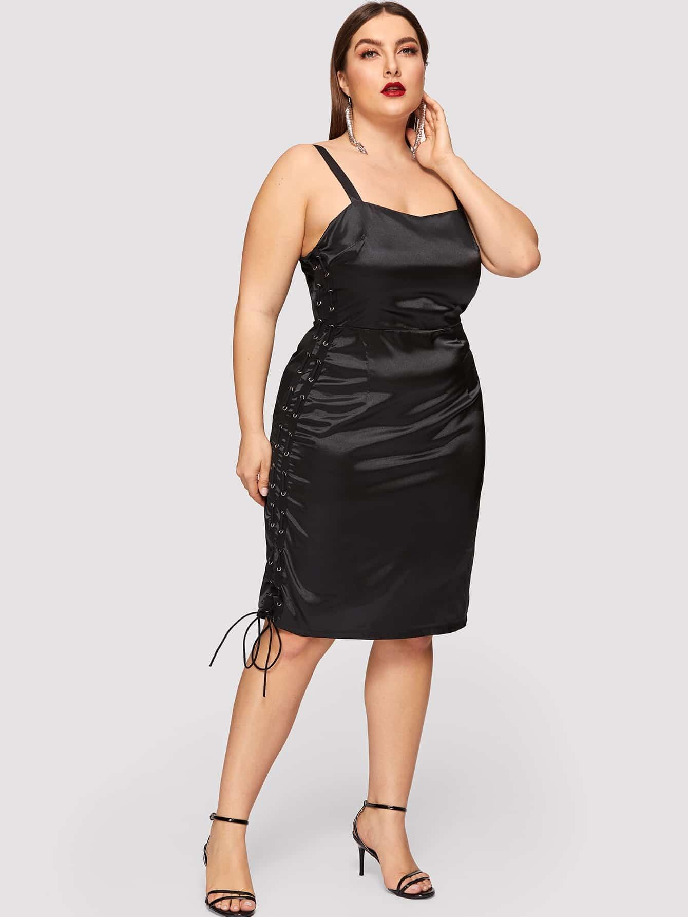 Размер плюс платье с кружевом