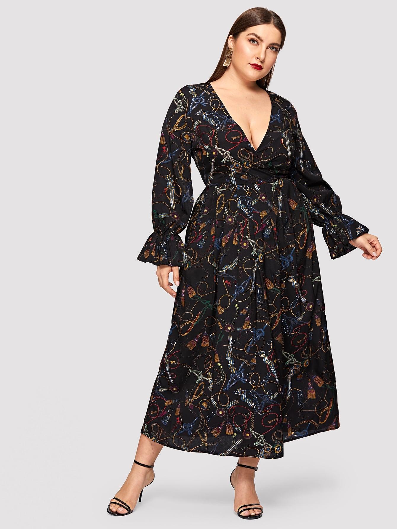 Купить Размер плюс платье на зарах с графическим принтом и оригинальным рукавом, Franziska, SheIn