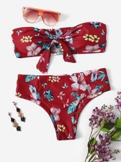 Flower Print Knot Bandeau Bikini Set
