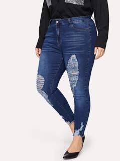 Plus Slant Pocket Ripped Detail Jeans