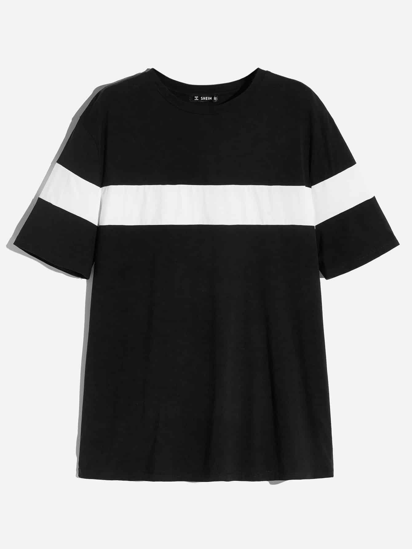 Купить Мужская двухцветная футболка с коротким рукавом, null, SheIn