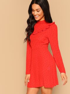 Mock-neck Fit and Flare Ruffle Dress