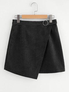 O-Ring Belt Detail Corduroy Wrap Skirt