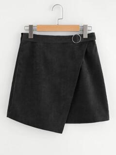 O-Ring Belt Detail Corduroy Wrap Skirt
